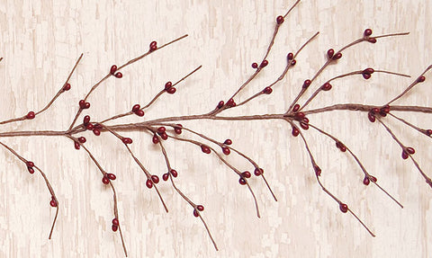 Rustic Country Wispy Burgundy Pip 5 ft Garland