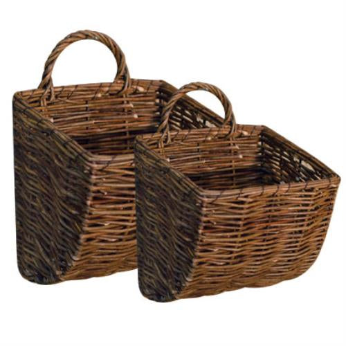 Set of 2 Willow Wall Pocket Baskets