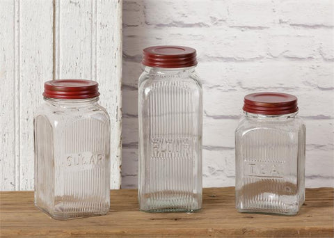 Vintage-style Square Ribbed Glass Canister Set - Sugar, Flour, Tea