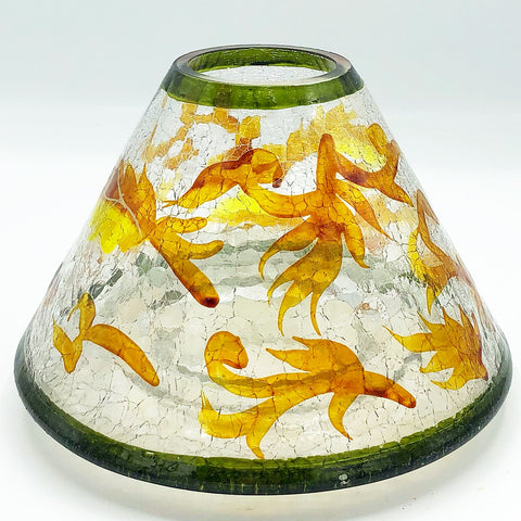 Golden Leaves Crackle Glass Jar Candle Shade