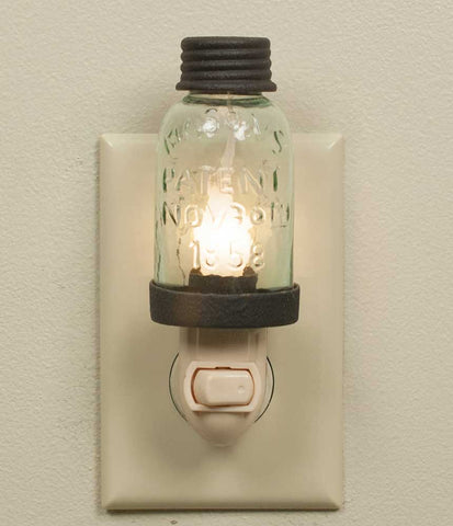 Mason Jar Night Light with Rustic Brown Trim