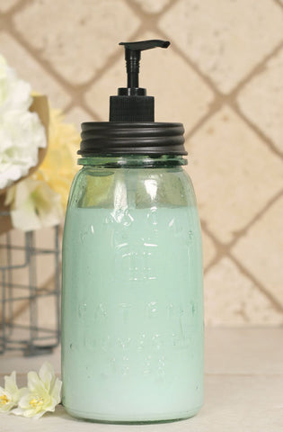Quart Mason Jar Soap Dispenser with Black Lid