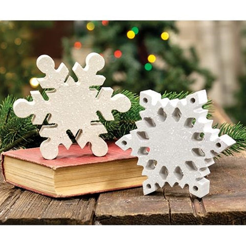 Set of 2 Wood Snowflake Sitters
