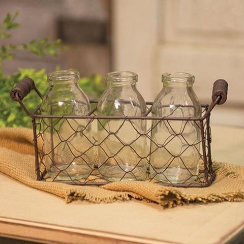Three Glass Bottles with Chicken Wire Caddy