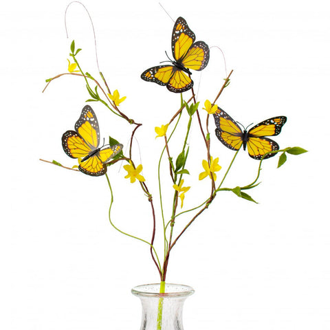 Yellow Butterfly Forsythia Twig Faux Spray