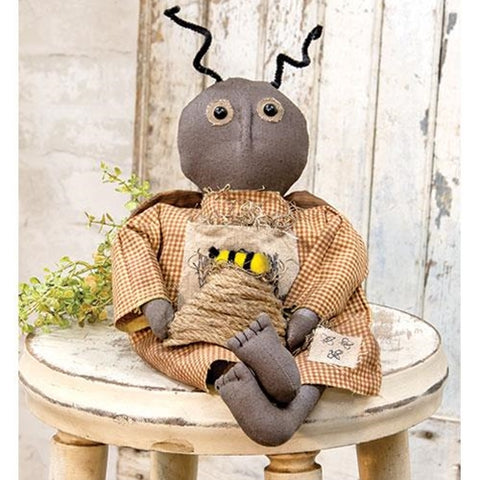 Primitive Bee Dressed Doll Holding a Bee Skep