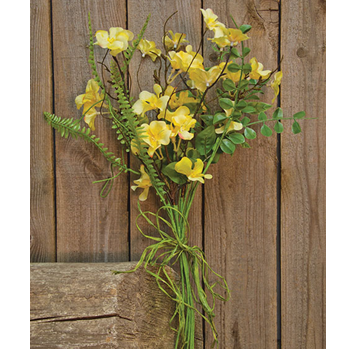 "Yellow Clover Blossom 18"" Faux Floral Bush"