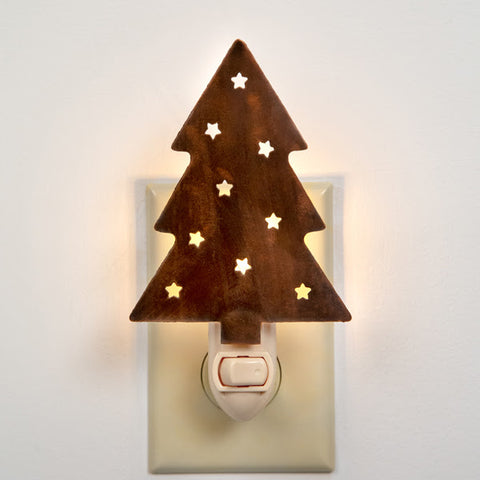 Rustic Christmas Tree Night Light