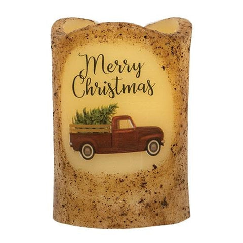 "Merry Christmas Truck Battery Powered 4.5"" H Pillar Candle"