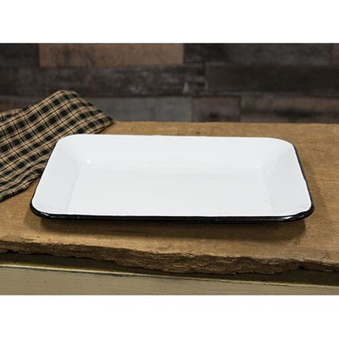 Black Rim Enamelware White Rectangular Tray