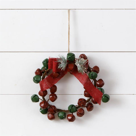 "Red and Green Jingle Bell Small 9"" Wreath"