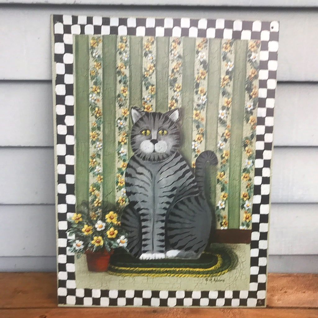 "M Adams Large Grey Tabby Cat Checkerboard 16"" x 12"" Tin Sign"