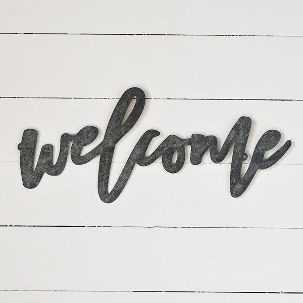 "Welcome Tin Script 24"" Wall Sign"
