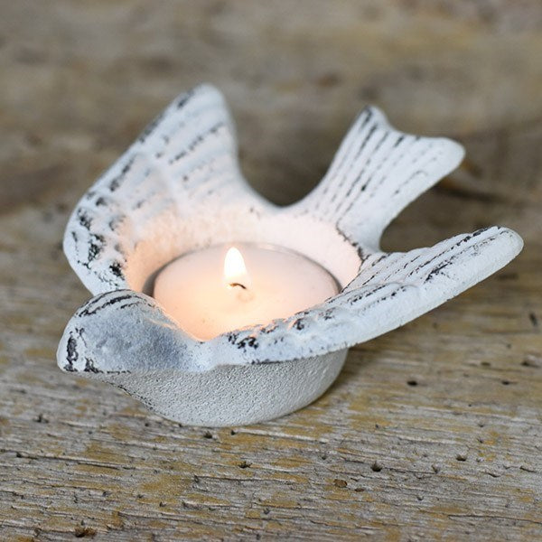 White Distressed Bird Metal Tealight Holder
