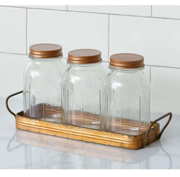 Distressed Copper Tray with Trio of Jars