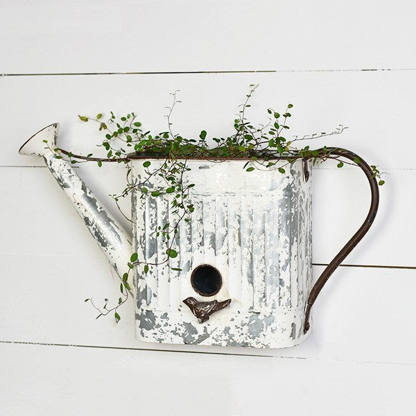 Chippy White Watering Can Birdhouse