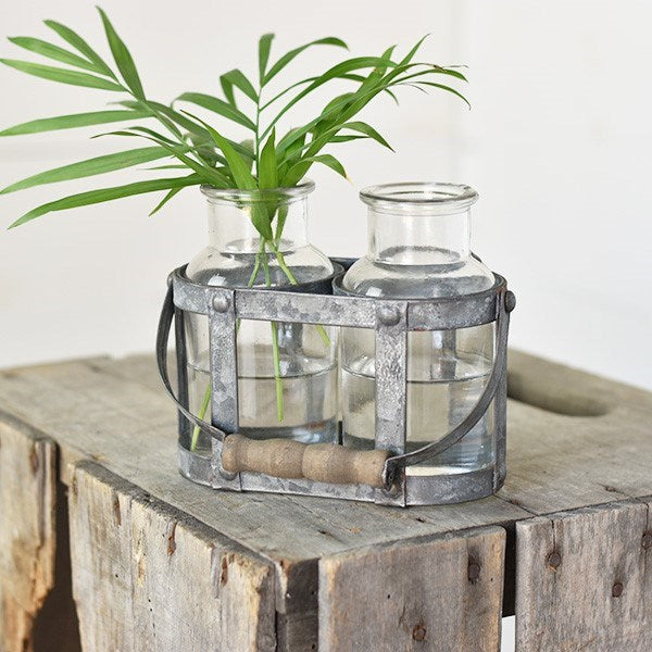 Farmhouse Metal Caddy with Two Glass Bottle Vases