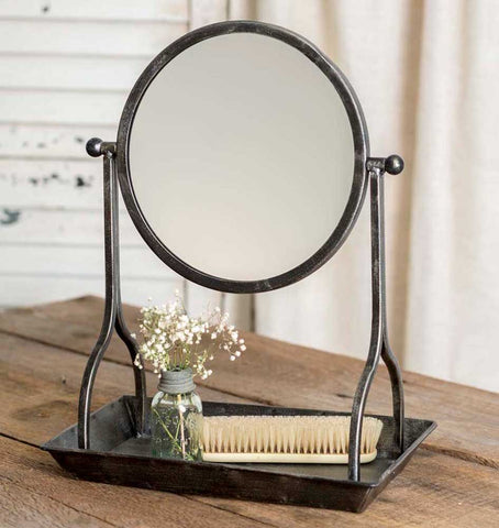 Rustic Vanity Tray with Round Mirror