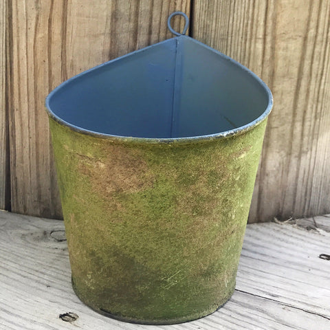 "Mossy Brown Metal Wall Planter 6.5"" H"