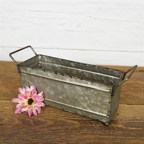 Rustic Galvanized Metal Rectangular Box 9""