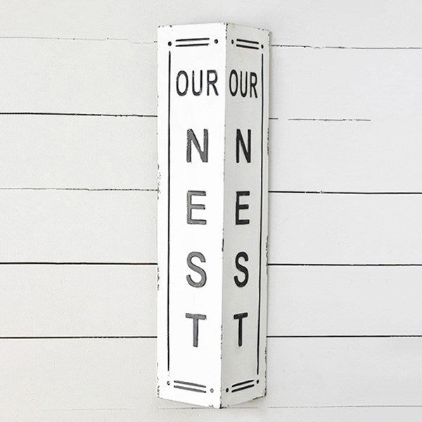 OUR NEST Two-Sided Distressed Black and White Tin Sign