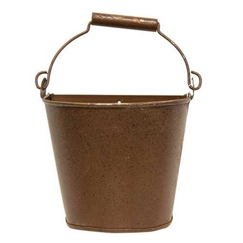 Rustic Rusty Small Wall Bucket - flat side on back