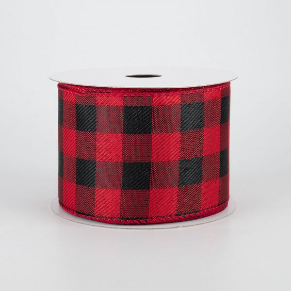 "Buffalo Plaid Red and Black Linen Ribbon 2.5"" x 10 Yards"