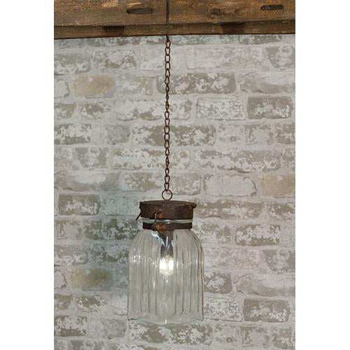 Hanging Rustic Glass Jar Battery Operated Lamp