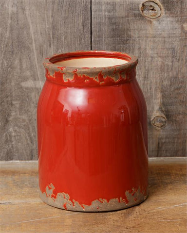 "Farmhouse Distressed Red Pottery 8"" Crock"