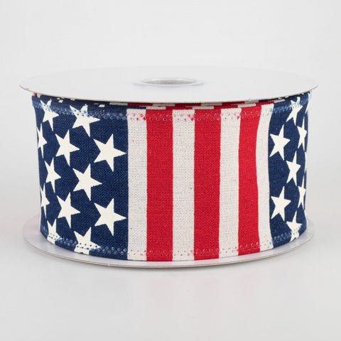 "American Flag Stripe Ribbon: Ivory, Red, White, Blue 2.5"" x 10 yards"