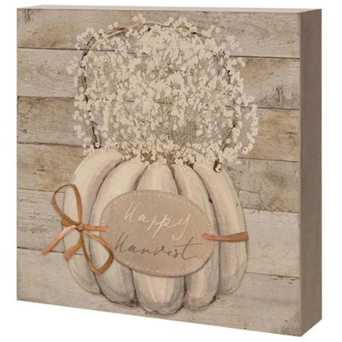 Happy Harvest Pumpkin with Baby's Breath Box Sign