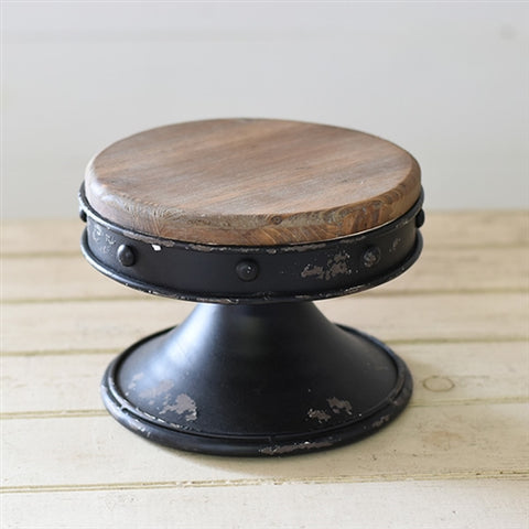 "Rustic 8"" Display Stand Riser - black metal and wood plate"