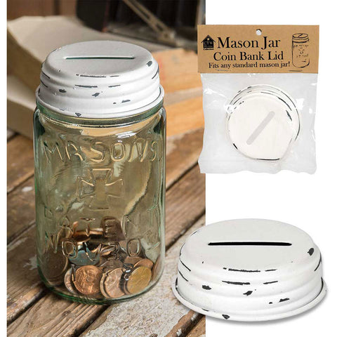 Coin Bank Distressed White Mason Jar Lid