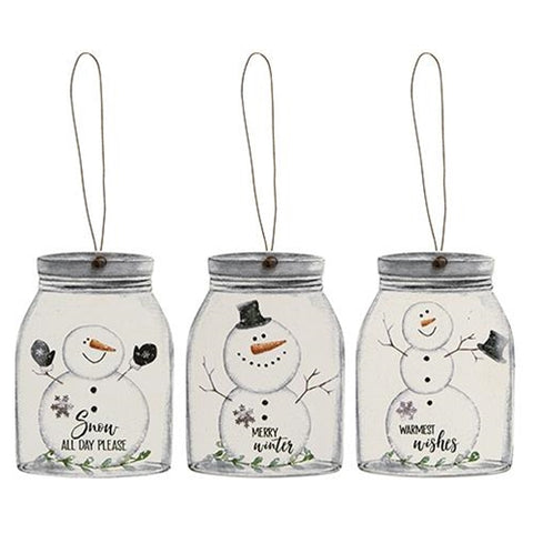 Set of 3 Happy Snowman Mason Jar Ornament