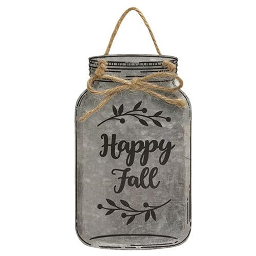 Happy Fall Metal Mason Jar Ornament