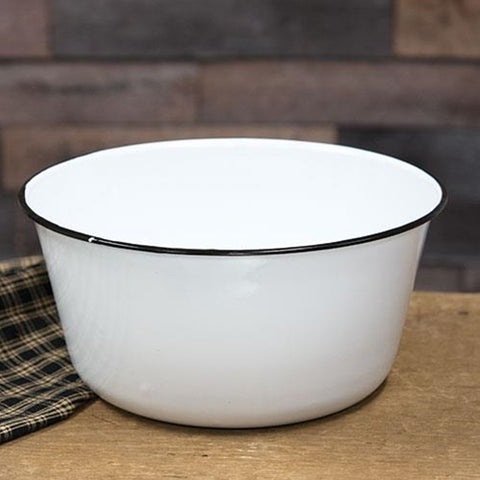 Mixing Bowl White Enamelware with Black Trim