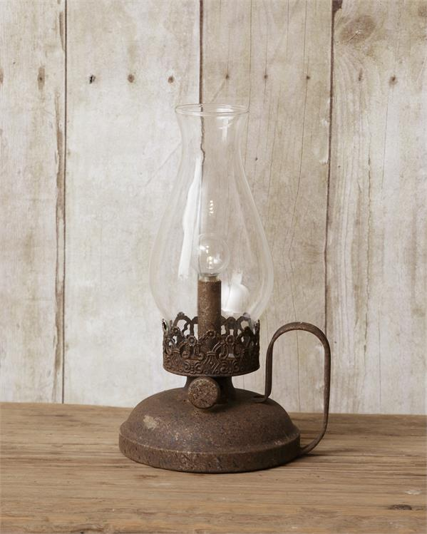 "Rustic Vintage-Style Battery Powered ""Oil"" Lamp Lantern"