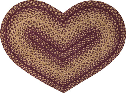 Burgundy and Tan Braided Heart Jute Rug Mat
