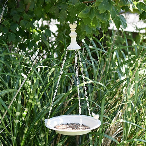 Distressed White Tray Bird Feeder with two Friendly Birds