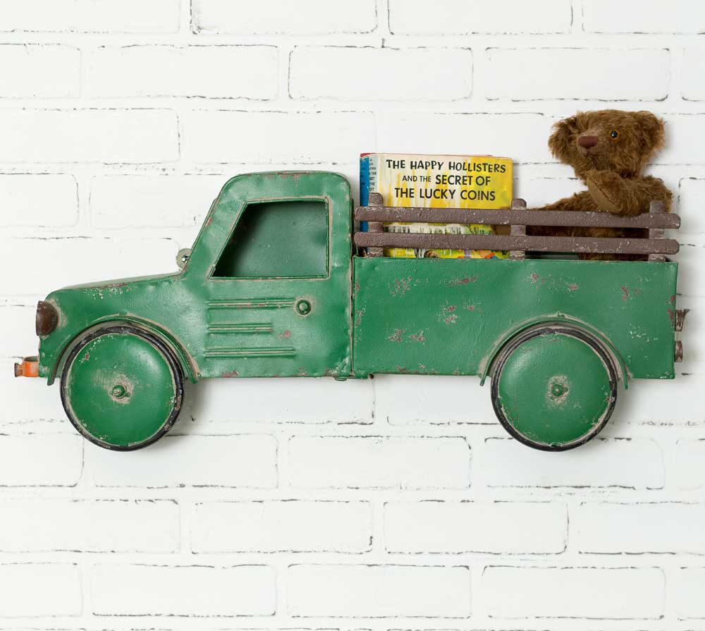Green Truck Wall Basket