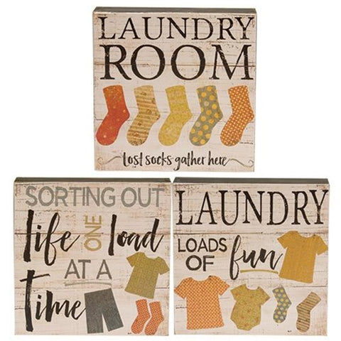 "Set of 3 Loads of Fun Laundry 4"" Box Signs"