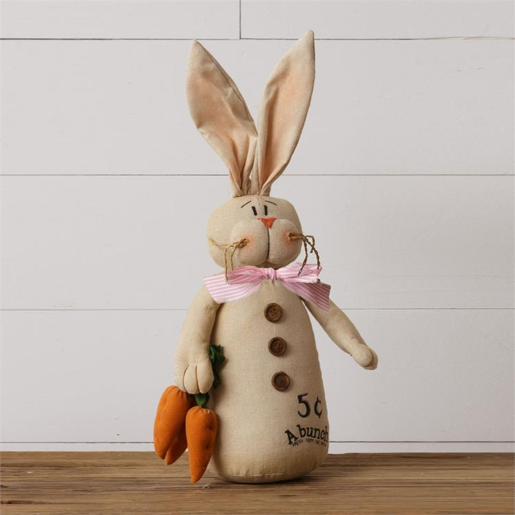 Cheeky Fabric Bunny Holding Carrots