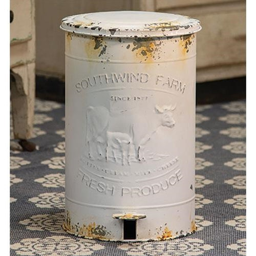 Rustic Farmhouse Southwind Farm Cow Metal Trash Bin