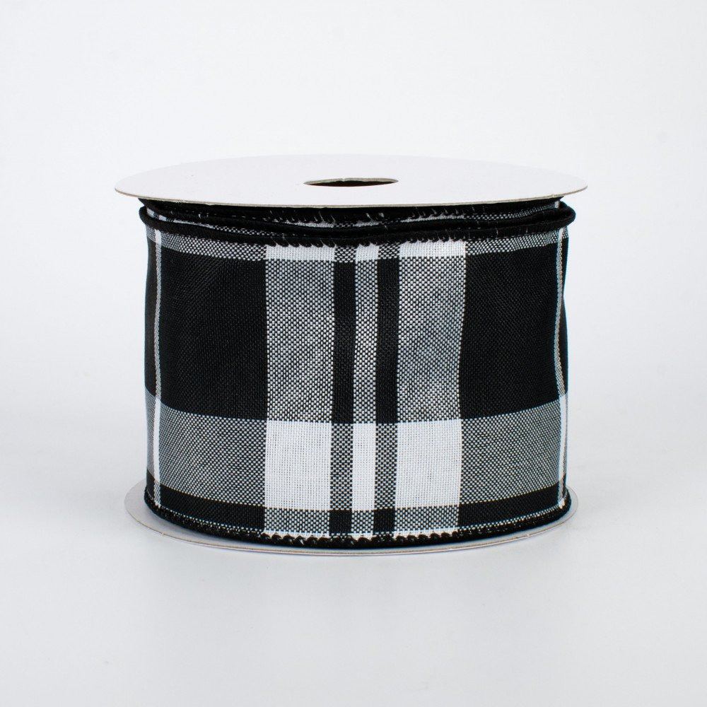 "Black & White Plaid Wire-Edged Ribbon 2.5"" W x 10 yards"