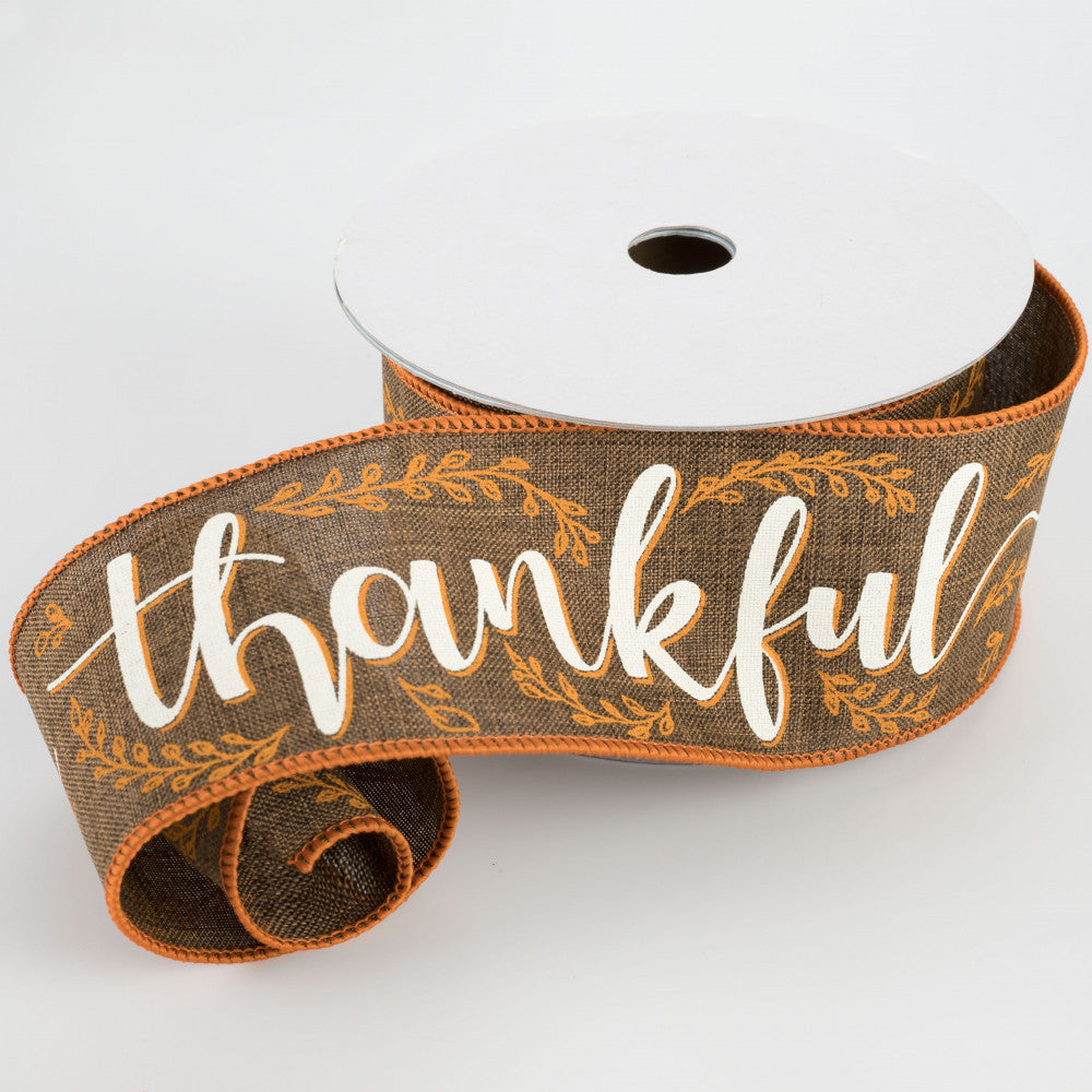 "Thankful Script Brown Wire Edged Ribbon 2.5"" x 10 yards"
