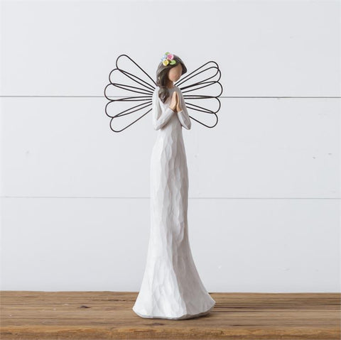 Graceful Angel Praying Figure rustic wings
