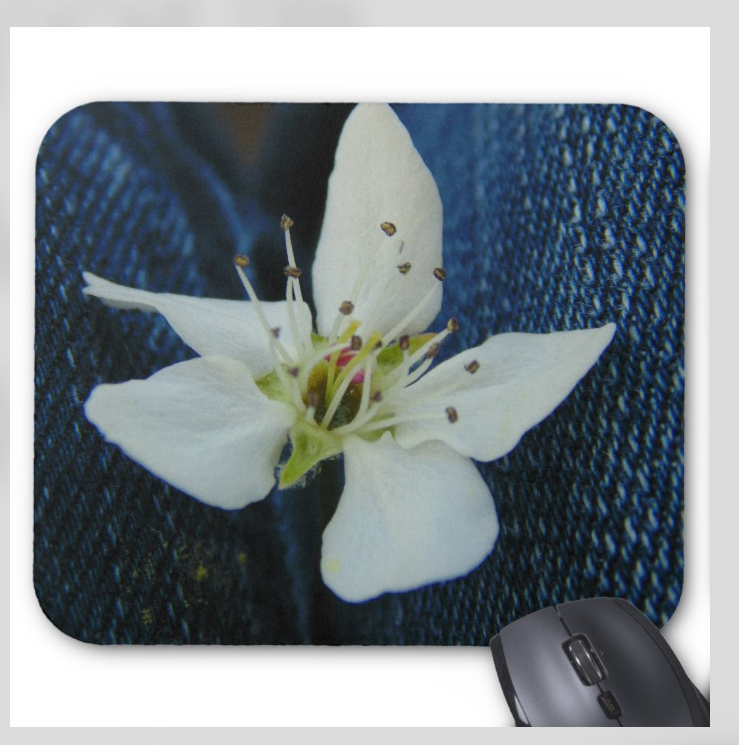 Flower Photo Mouse pad - Denim Blooms - Super Grip Mousepad