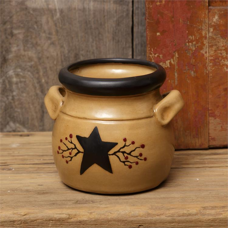 Primitive Star and Berries Handled Small Crock