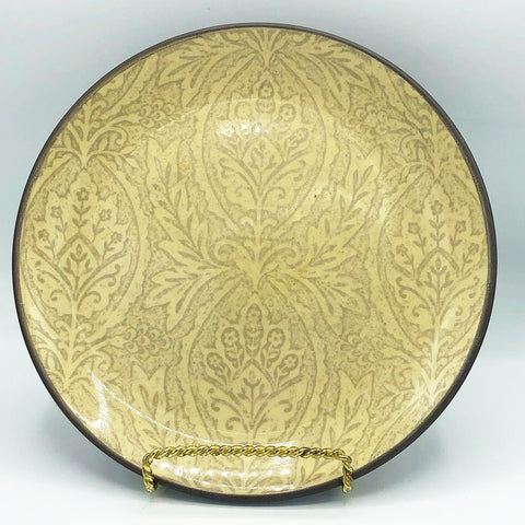 222 Fifth Chandi Vanilla Salad Plate Tan Leaves Brown Rim