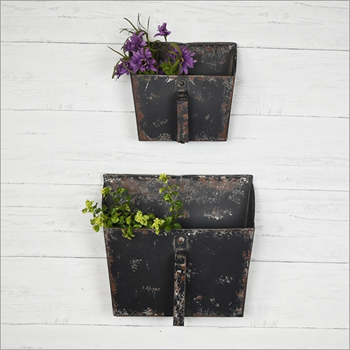 Set of Two Distressed Black Wall Pockets